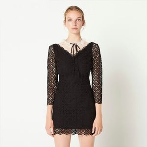 SANDRO Cristina Geometric Lace Floral Mini Dress